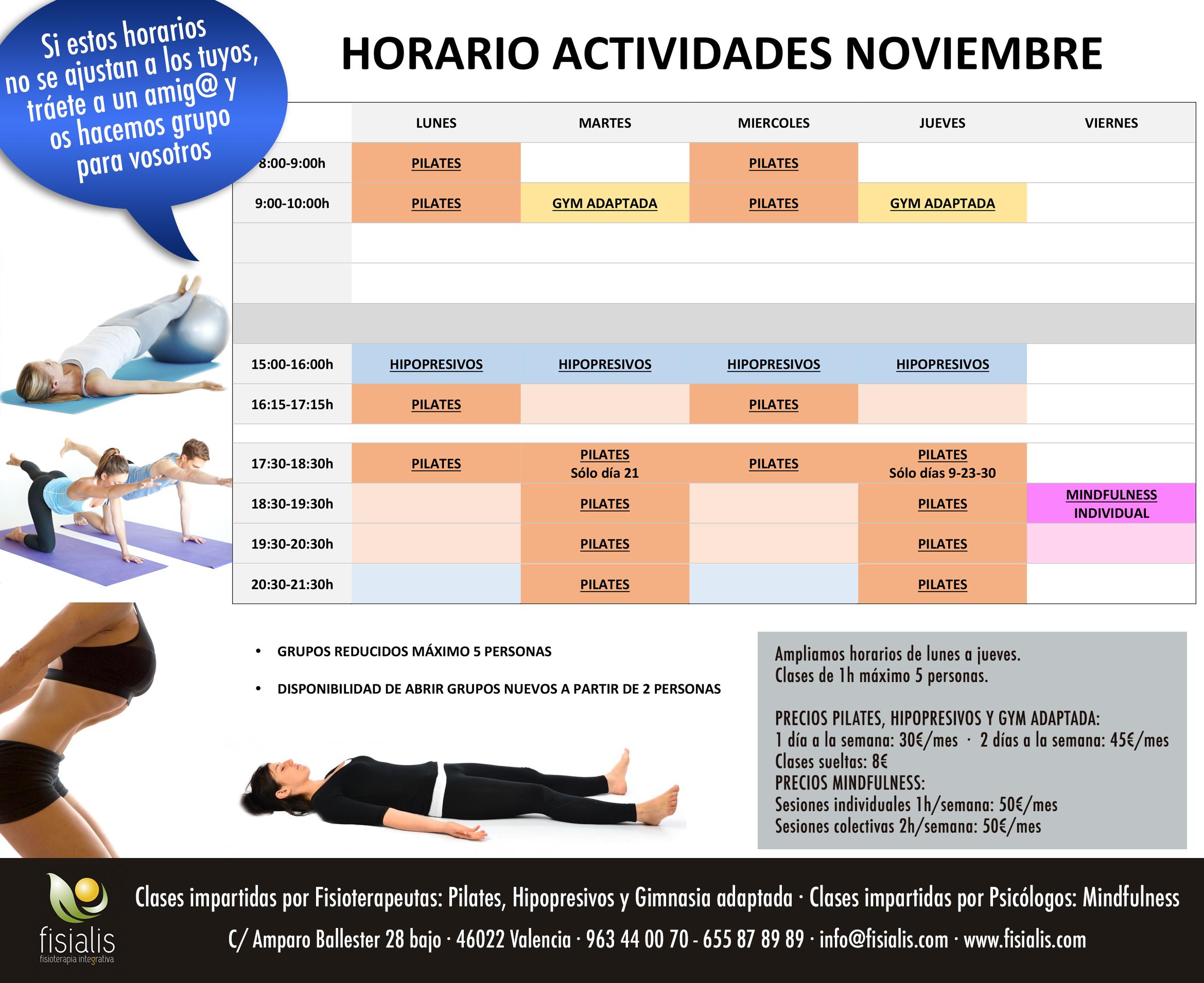 fisialis horarios actividades NOVIEMBRE2017